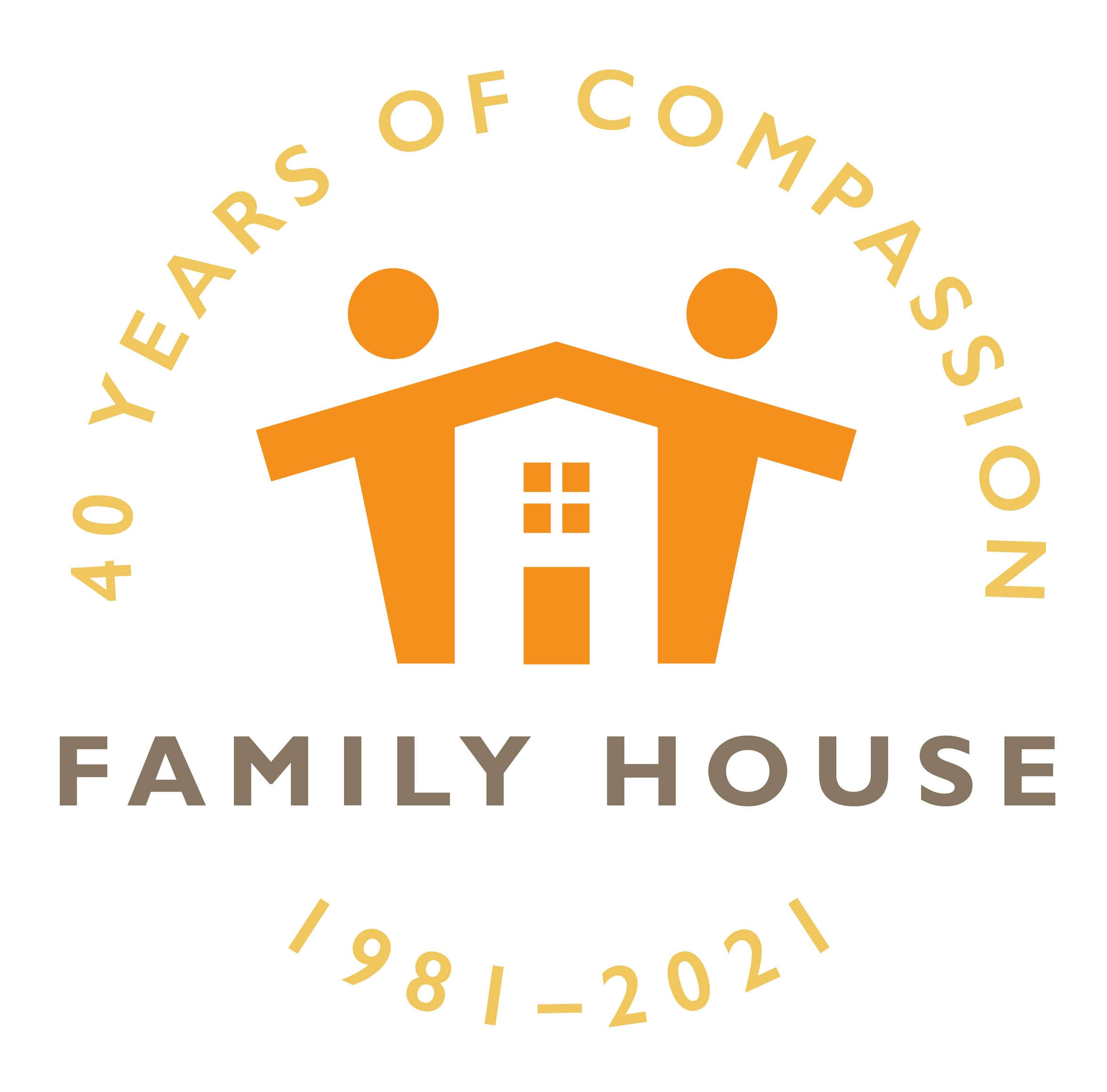 Family House Logo Celebrating 40 years of compassion 1981-2021